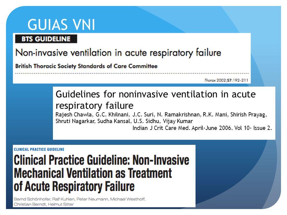 GUIAS VNI Guidelines for noninvasive ventilation in acute respiratory failure Rajesh Chawla, G.C. Khilnani, J.C. Suri, N. Ramakrishnan, R.K. Mani, Shi