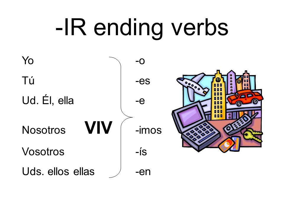 -IR ending verbs Yo-o Tú-es Ud. Él, ella-e Nosotros VIV -imos Vosotros-ís Uds. ellos ellas-en