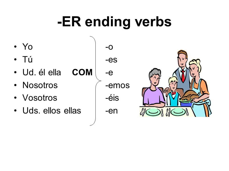 -ER ending verbs Yo-o Tú-es Ud. él ella COM-e Nosotros-emos Vosotros-éis Uds. ellos ellas-en