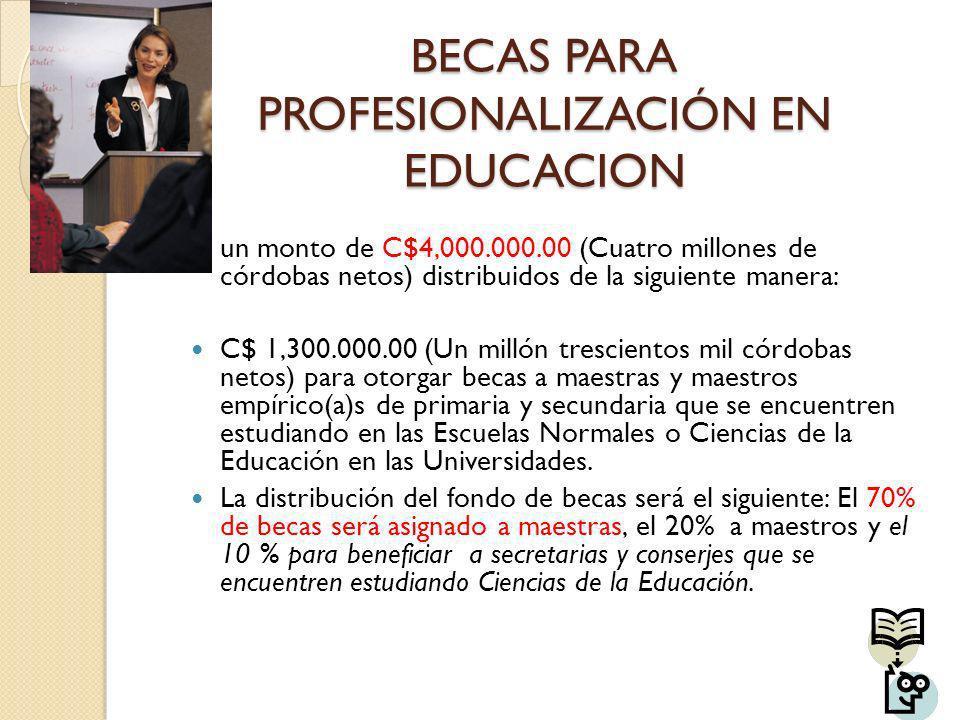 BECAS PARA PROFESIONALIZACIÓN EN EDUCACION un monto de C$4,000.000.00 (Cuatro millones de córdobas netos) distribuidos de la siguiente manera: C$ 1,30