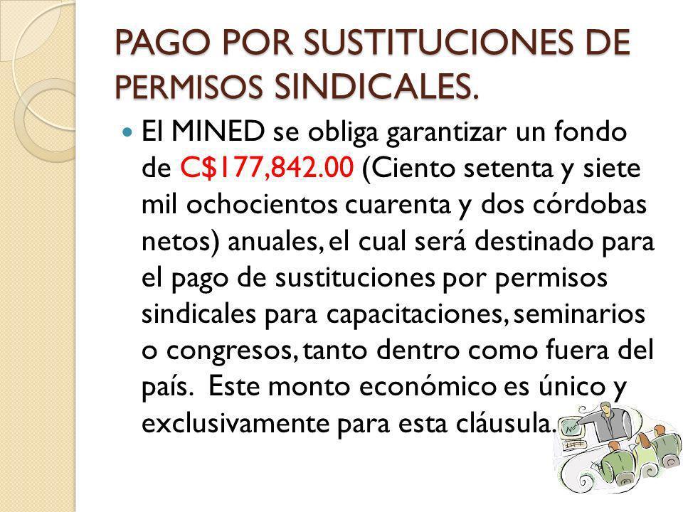 PAGO POR SUSTITUCIONES DE PERMISOS SINDICALES. El MINED se obliga garantizar un fondo de C$177,842.00 (Ciento setenta y siete mil ochocientos cuarenta
