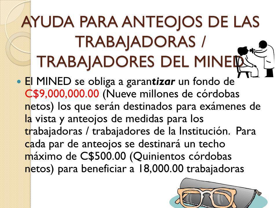AYUDA PARA ANTEOJOS DE LAS TRABAJADORAS / TRABAJADORES DEL MINED El MINED se obliga a garantizar un fondo de C$9,000,000.00 (Nueve millones de córdoba