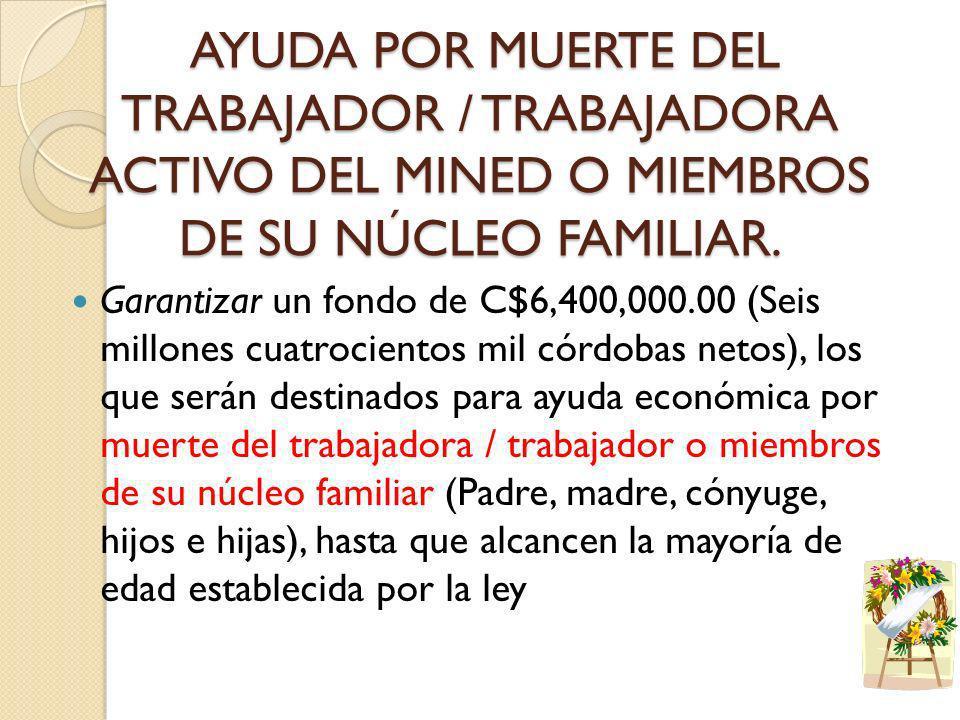 AYUDA POR MUERTE DEL TRABAJADOR / TRABAJADORA ACTIVO DEL MINED O MIEMBROS DE SU NÚCLEO FAMILIAR. AYUDA POR MUERTE DEL TRABAJADOR / TRABAJADORA ACTIVO