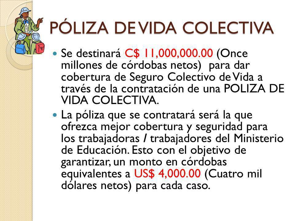 PÓLIZA DE VIDA COLECTIVA Se destinará C$ 11,000,000.00 (Once millones de córdobas netos) para dar cobertura de Seguro Colectivo de Vida a través de la