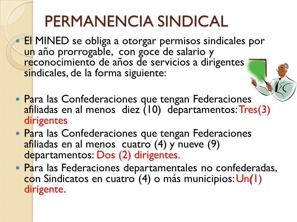 PERMANENCIA SINDICAL El MINED se obliga a otorgar permisos sindicales por un año prorrogable, con goce de salario y reconocimiento de años de servicio