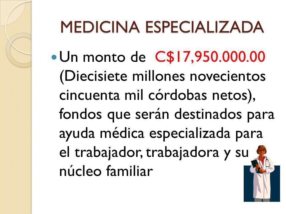 MEDICINA ESPECIALIZADA Un monto de C$17,950.000.00 (Diecisiete millones novecientos cincuenta mil córdobas netos), fondos que serán destinados para ay
