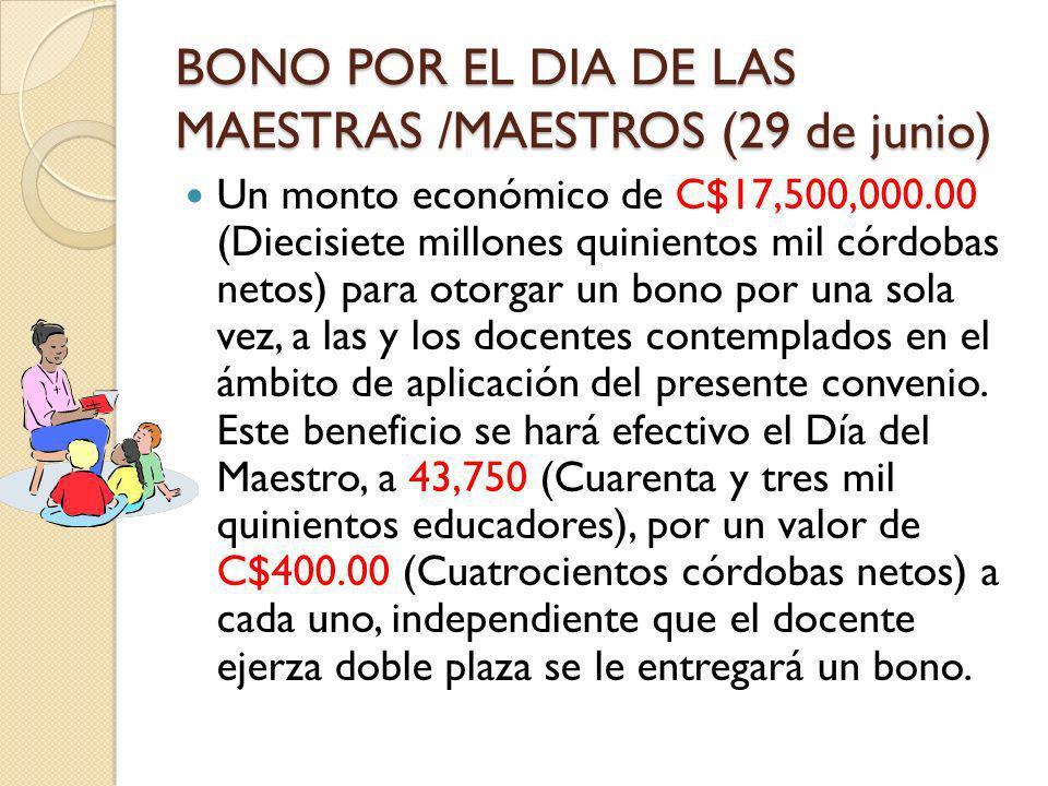 BONO POR EL DIA DE LAS MAESTRAS /MAESTROS (29 de junio) Un monto económico de C$17,500,000.00 (Diecisiete millones quinientos mil córdobas netos) para