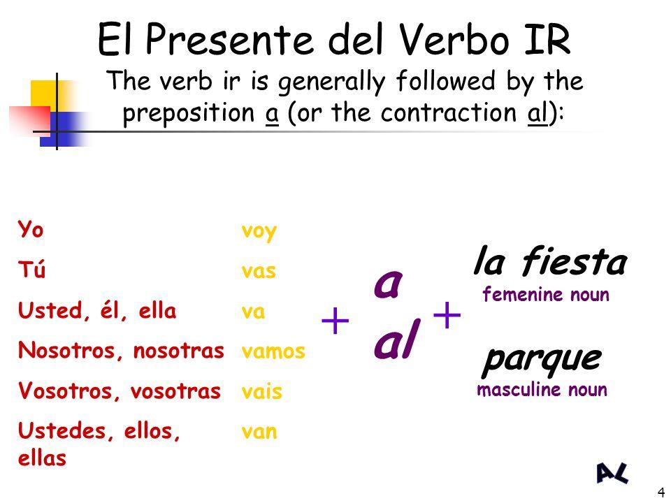 3 El Presente del Verbo IR: (irregular in the present tense) Yo Tú Usted, él, ella Nosotros, nosotras Vosotros, vosotras Ustedes, ellos, ellas voy vas