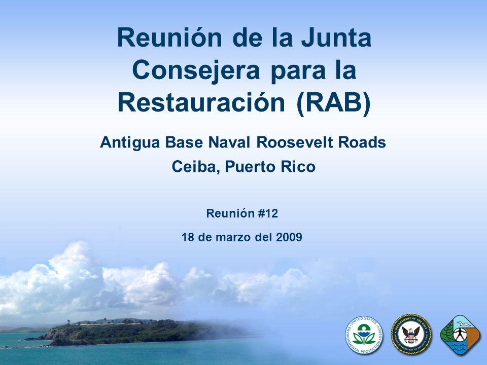 Reunión de la Junta Consejera para la Restauración (RAB) Antigua Base Naval Roosevelt Roads Ceiba, Puerto Rico Reunión #12 18 de marzo del 2009