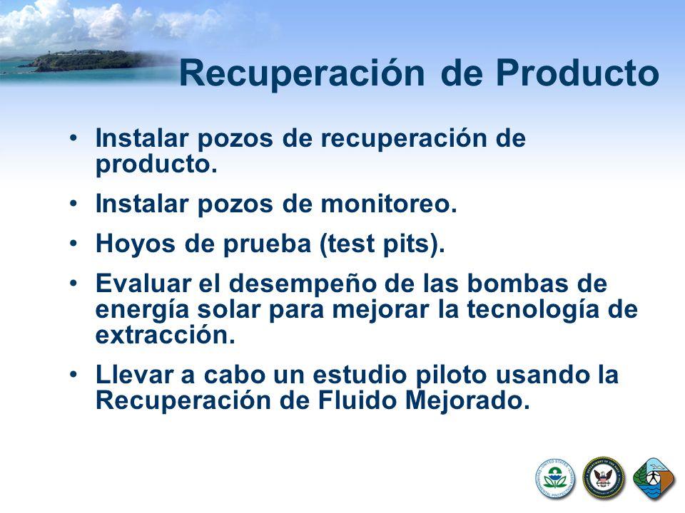 Recuperación de Producto Instalar pozos de recuperación de producto. Instalar pozos de monitoreo. Hoyos de prueba (test pits). Evaluar el desempeño de