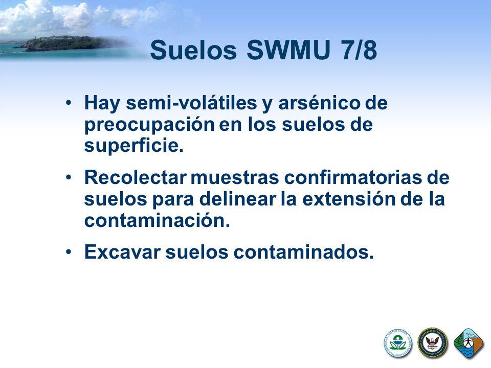 Suelos SWMU 7/8 Hay semi-volátiles y arsénico de preocupación en los suelos de superficie. Recolectar muestras confirmatorias de suelos para delinear