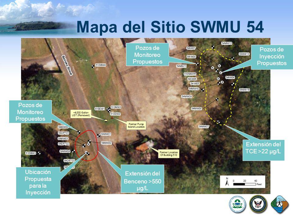 Mapa del Sitio SWMU 54 Extensión del TCE >22 µg/L Extensión del Benceno >550 µg/L Ubicación Propuesta para la Inyección Pozos de Inyección Propuestos