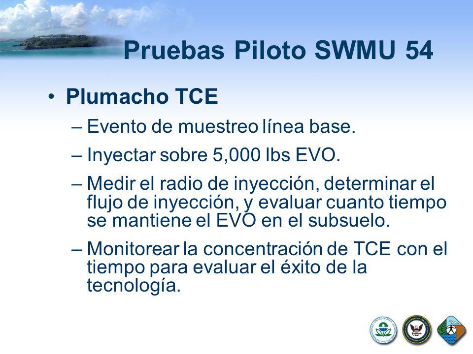 Pruebas Piloto SWMU 54 Plumacho TCE –Evento de muestreo línea base. –Inyectar sobre 5,000 lbs EVO. –Medir el radio de inyección, determinar el flujo d