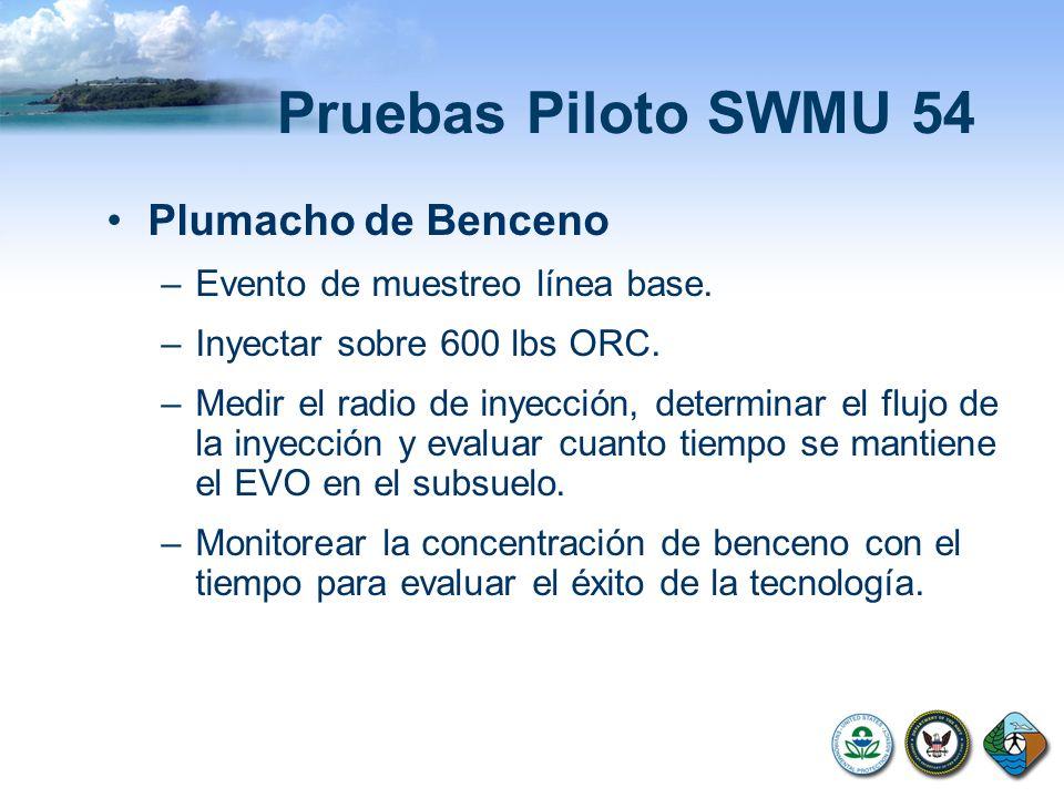 Pruebas Piloto SWMU 54 Plumacho de Benceno –Evento de muestreo línea base. –Inyectar sobre 600 lbs ORC. –Medir el radio de inyección, determinar el fl
