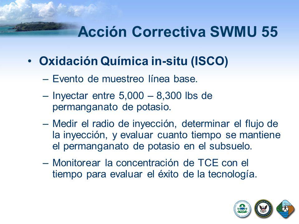 Acción Correctiva SWMU 55 Oxidación Química in-situ (ISCO) –Evento de muestreo línea base. –Inyectar entre 5,000 – 8,300 lbs de permanganato de potasi