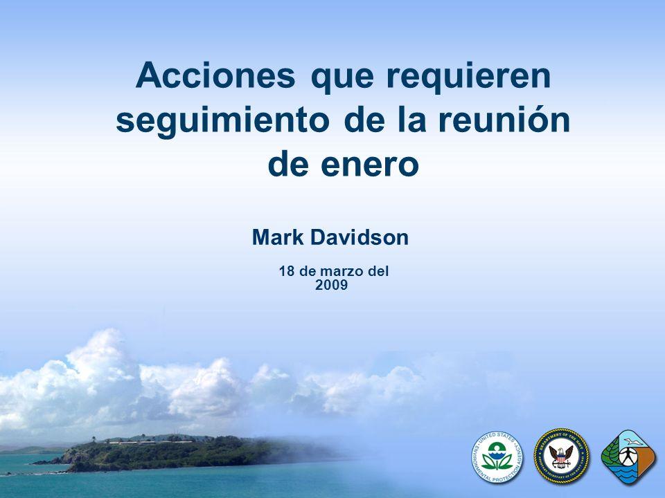 Acciones que requieren seguimiento de la reunión de enero Mark Davidson 18 de marzo del 2009