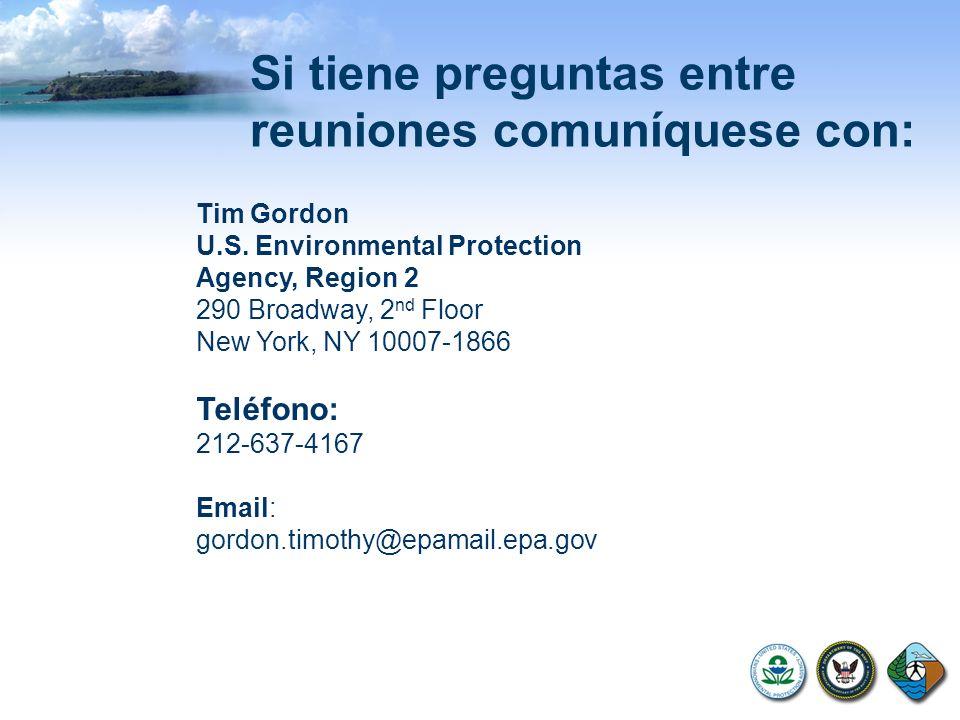 Tim Gordon U.S. Environmental Protection Agency, Region 2 290 Broadway, 2 nd Floor New York, NY 10007-1866 Teléfono: 212-637-4167 Email: gordon.timoth