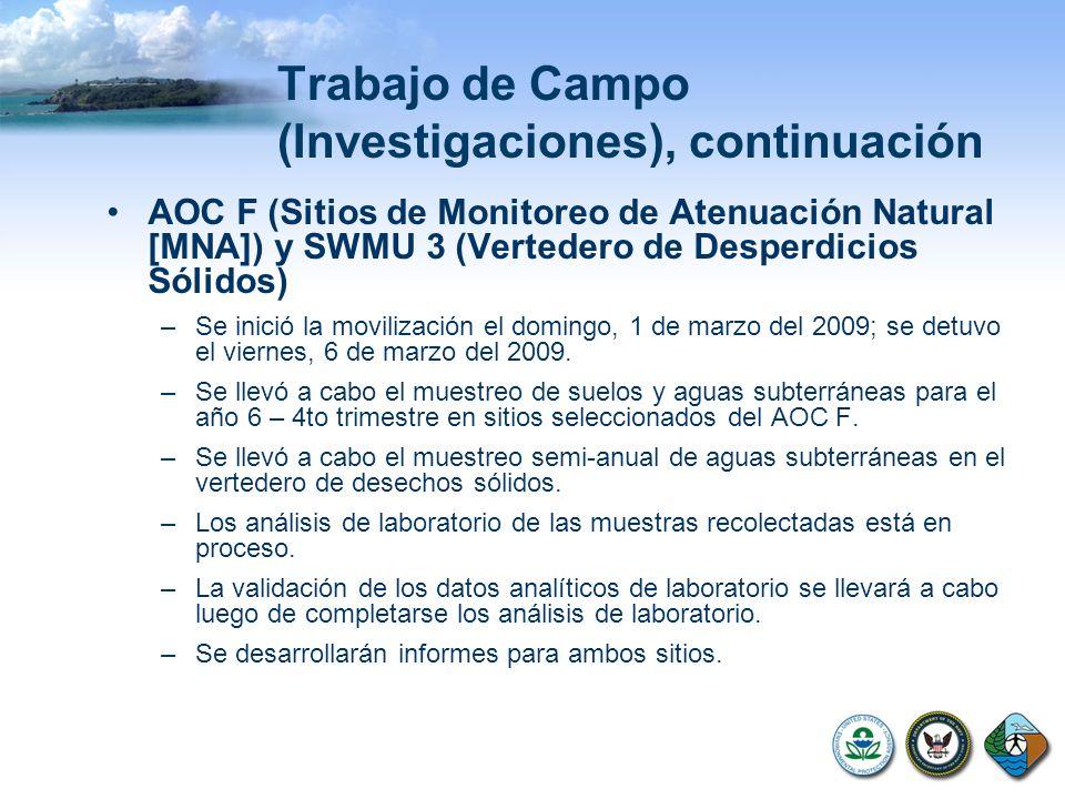 Trabajo de Campo (Investigaciones), continuación AOC F (Sitios de Monitoreo de Atenuación Natural [MNA]) y SWMU 3 (Vertedero de Desperdicios Sólidos)