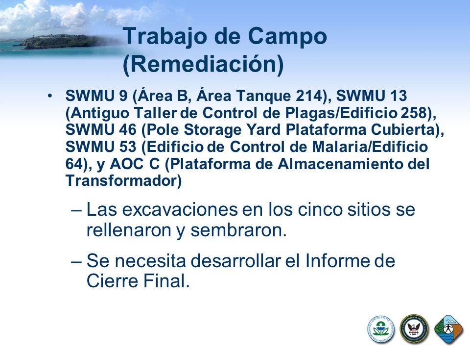 Trabajo de Campo (Remediación) SWMU 9 (Área B, Área Tanque 214), SWMU 13 (Antiguo Taller de Control de Plagas/Edificio 258), SWMU 46 (Pole Storage Yar