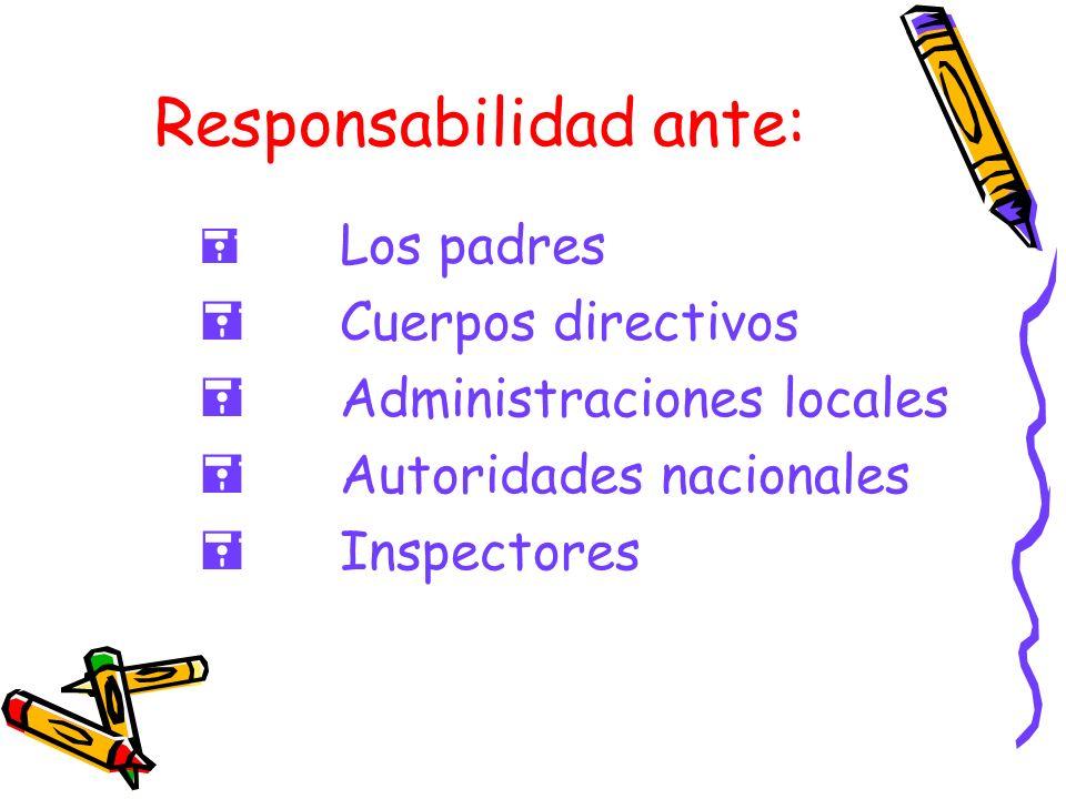 Responsabilidad ante: Los padres Cuerpos directivos Administraciones locales Autoridades nacionales Inspectores