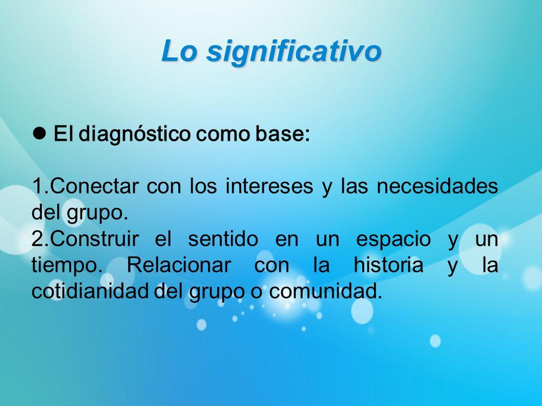 Lo significativo El diagnóstico como base: 1.Conectar con los intereses y las necesidades del grupo. 2.Construir el sentido en un espacio y un tiempo.