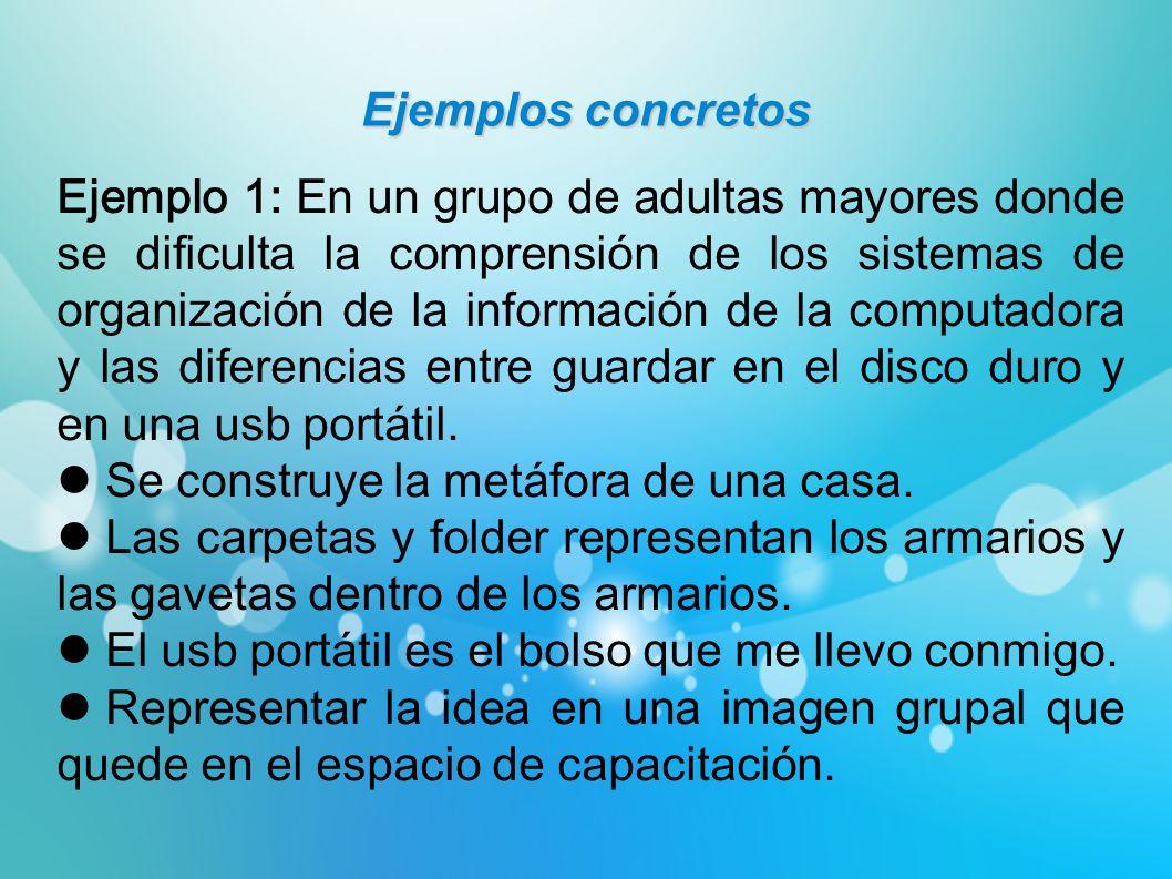 Ejemplos concretos Ejemplo 1: En un grupo de adultas mayores donde se dificulta la comprensión de los sistemas de organización de la información de la