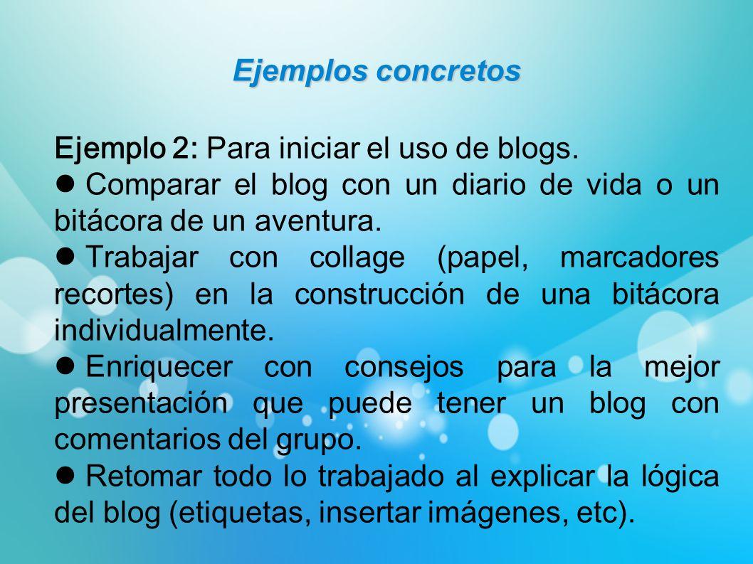 Ejemplos concretos Ejemplo 2: Para iniciar el uso de blogs. Comparar el blog con un diario de vida o un bitácora de un aventura. Trabajar con collage