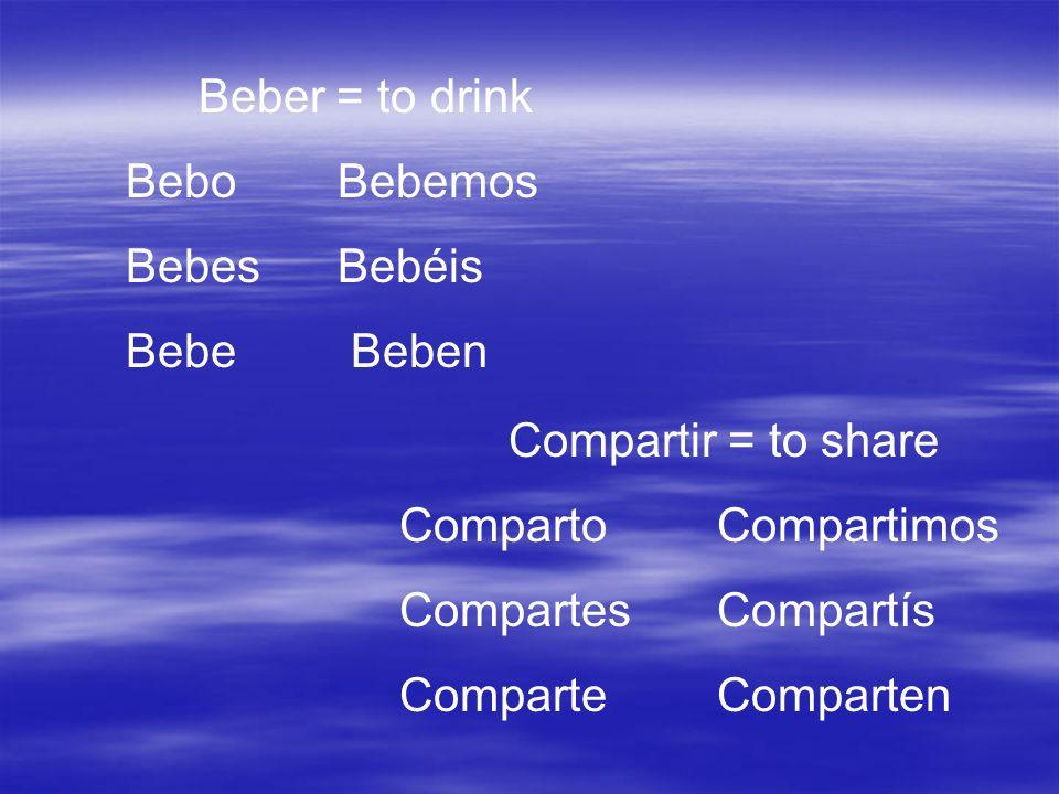 Beber = to drink BeboBebemos BebesBebéis Bebe Beben Compartir = to share CompartoCompartimos CompartesCompartís ComparteComparten