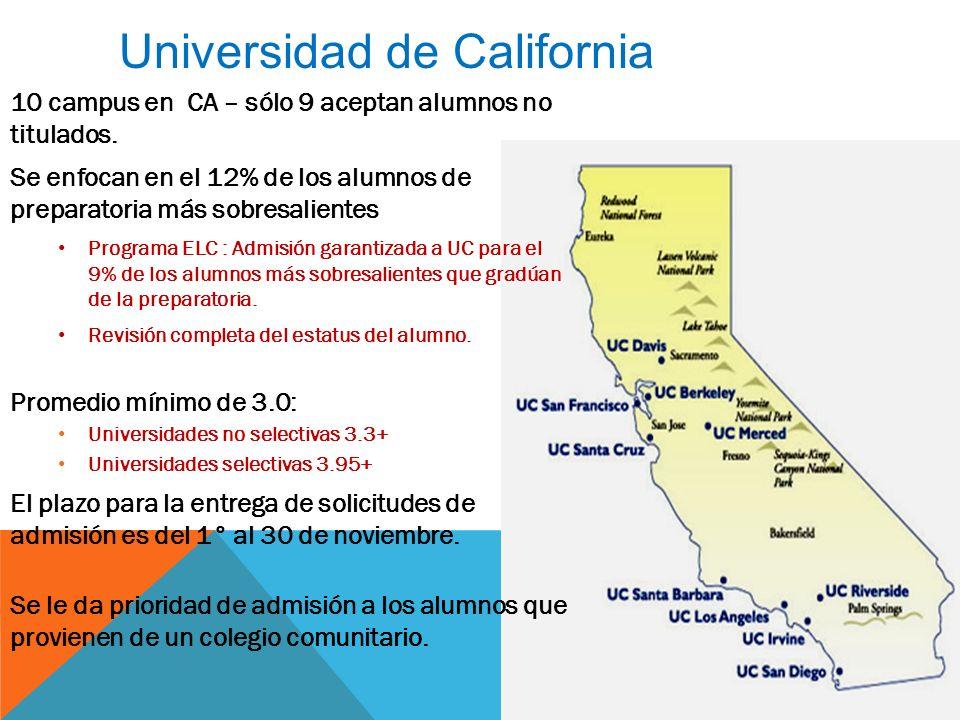 Universidad de California www.universityofcalifornia.edu 10 campus en CA – sólo 9 aceptan alumnos no titulados.