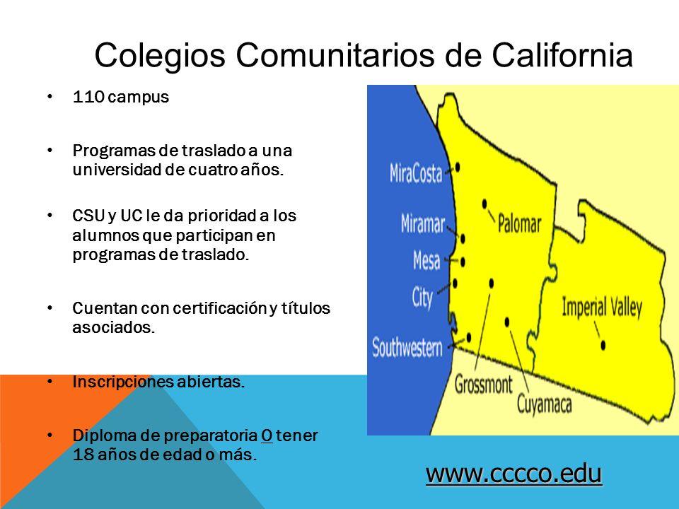 Colegios Comunitarios de California 110 campus Programas de traslado a una universidad de cuatro años.