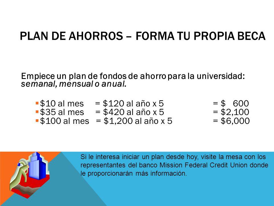 PLAN DE AHORROS – FORMA TU PROPIA BECA Empiece un plan de fondos de ahorro para la universidad: semanal, mensual o anual.