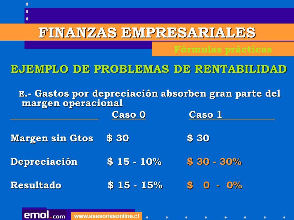www.asesoriasonline.cl EJEMPLO DE PROBLEMAS DE RENTABILIDAD E.- Gastos por depreciación absorben gran parte del margen operacional E.- Gastos por depr