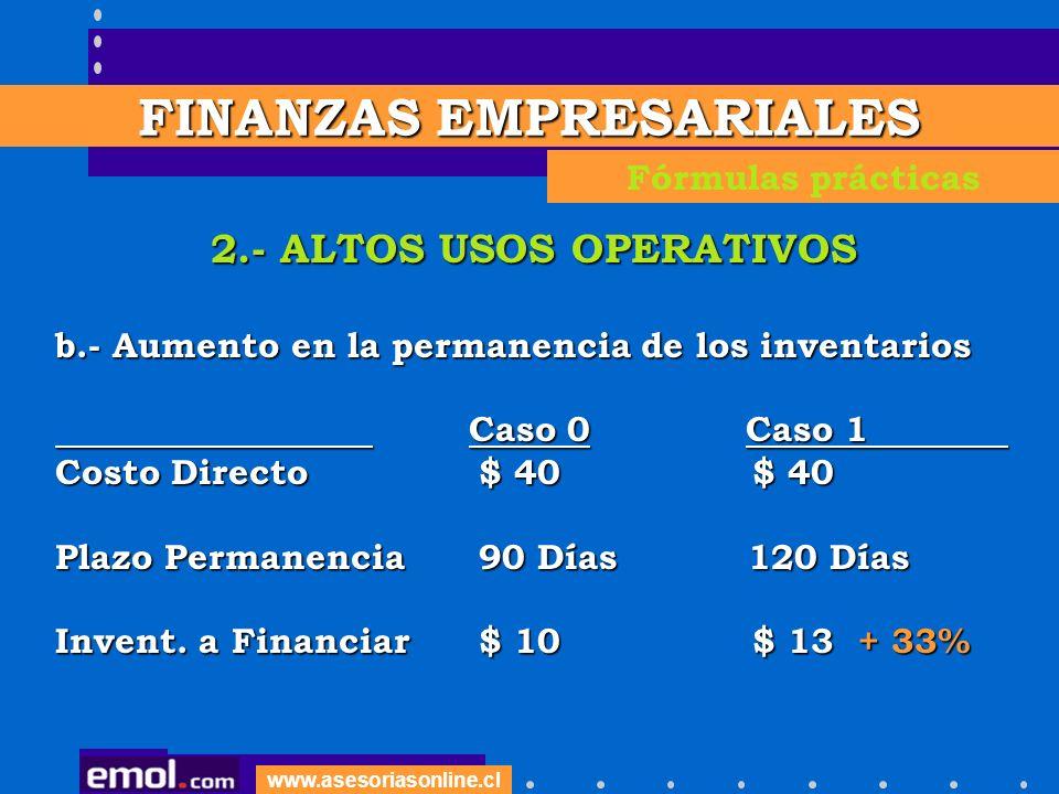 www.asesoriasonline.cl 2.- ALTOS USOS OPERATIVOS b.- Aumento en la permanencia de los inventarios Caso 0 Caso 1 Caso 0 Caso 1 Costo Directo $ 40 $ 40