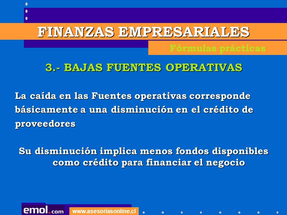 www.asesoriasonline.cl 3.- BAJAS FUENTES OPERATIVAS La caída en las Fuentes operativas corresponde básicamente a una disminución en el crédito de prov