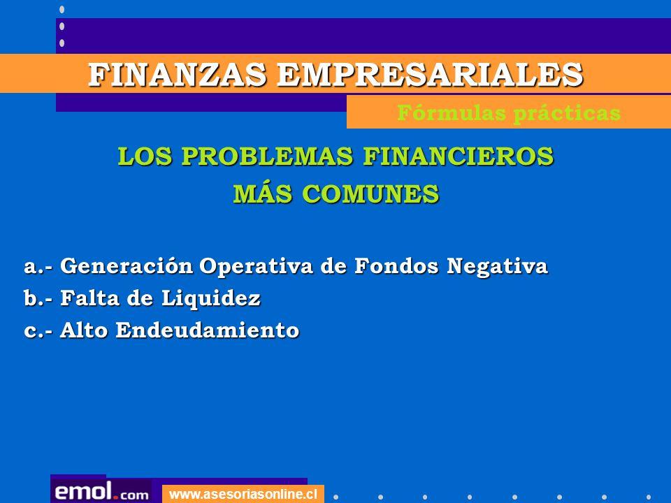 LOS PROBLEMAS FINANCIEROS MÁS COMUNES a.- Generación Operativa de Fondos Negativa b.- Falta de Liquidez c.- Alto Endeudamiento FINANZAS EMPRESARIALES