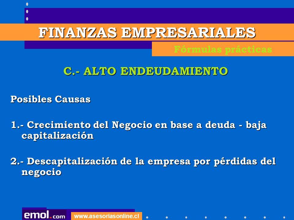 www.asesoriasonline.cl C.- ALTO ENDEUDAMIENTO Posibles Causas 1.- Crecimiento del Negocio en base a deuda - baja capitalización 2.- Descapitalización