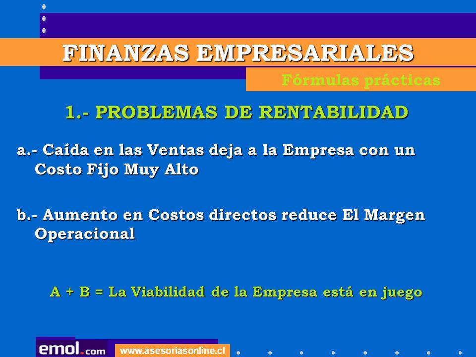 www.asesoriasonline.cl 1.- PROBLEMAS DE RENTABILIDAD a.- Caída en las Ventas deja a la Empresa con un Costo Fijo Muy Alto b.- Aumento en Costos direct