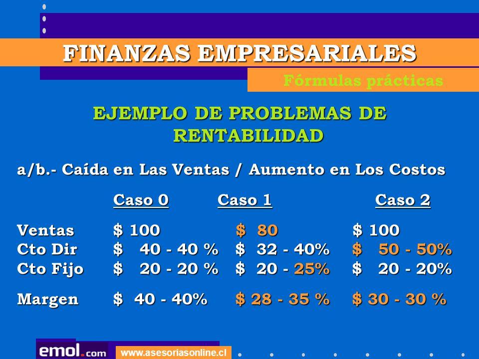 www.asesoriasonline.cl EJEMPLO DE PROBLEMAS DE RENTABILIDAD a/b.- Caída en Las Ventas / Aumento en Los Costos Caso 0 Caso 1 Caso 2 Caso 0 Caso 1 Caso