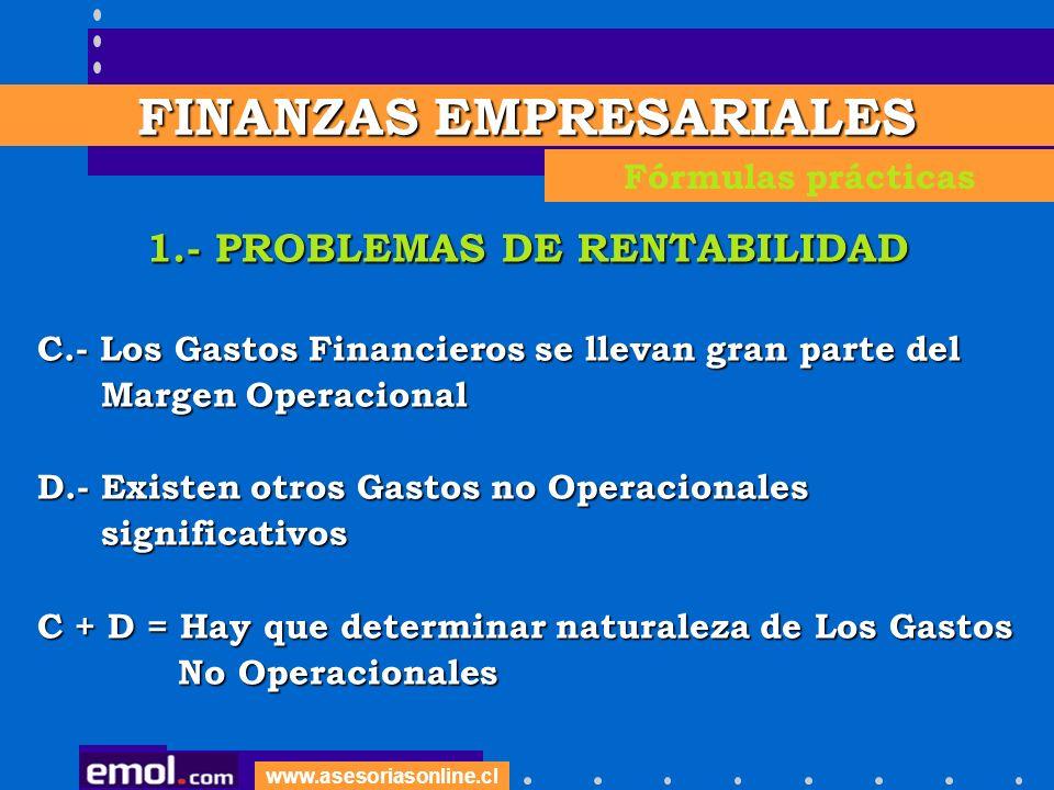 www.asesoriasonline.cl 1.- PROBLEMAS DE RENTABILIDAD C.- Los Gastos Financieros se llevan gran parte del Margen Operacional Margen Operacional D.- Exi
