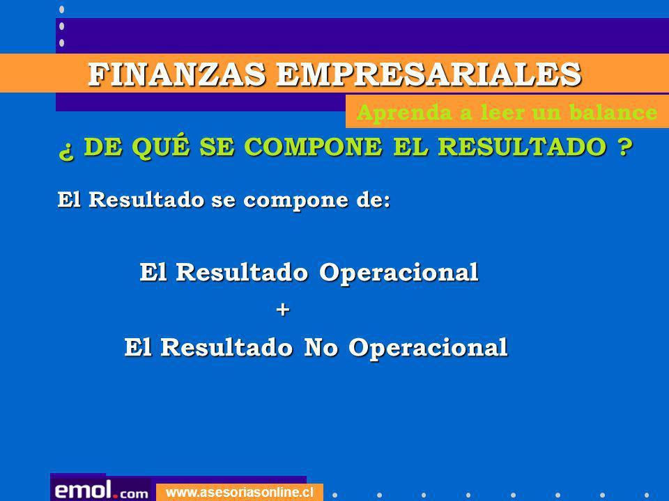 www.asesoriasonline.cl ¿ DE QUÉ SE COMPONE EL RESULTADO ? El Resultado se compone de: El Resultado Operacional El Resultado Operacional + El Resultado