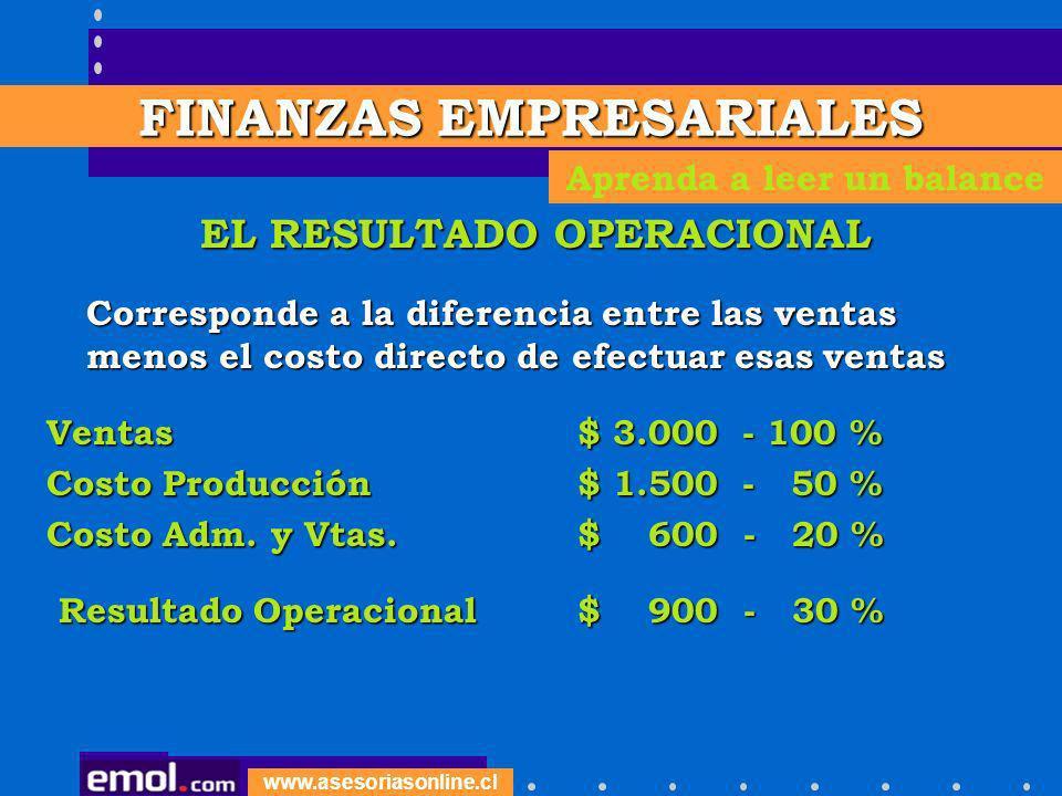 www.asesoriasonline.cl EL RESULTADO OPERACIONAL Corresponde a la diferencia entre las ventas menos el costo directo de efectuar esas ventas Correspond