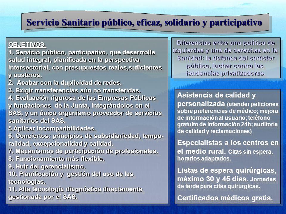 Servicio Sanitario público, eficaz, solidario y participativo OBJETIVOS 1. Servicio público, participativo, que desarrrolle salud integral, planificad