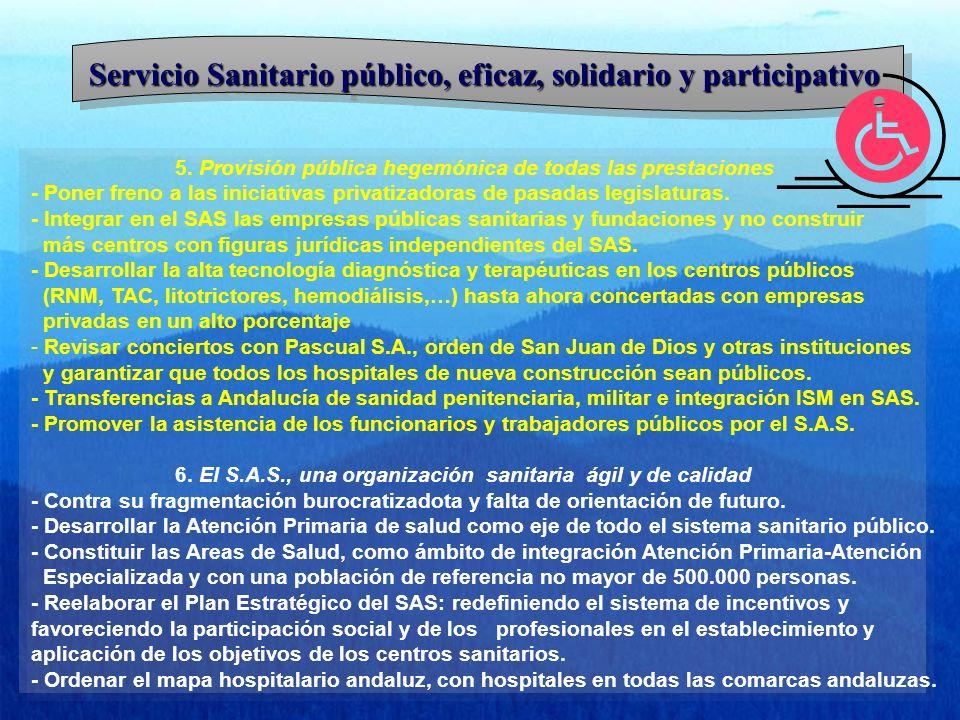 Servicio Sanitario público, eficaz, solidario y participativo 5. Provisión pública hegemónica de todas las prestaciones - Poner freno a las iniciativa