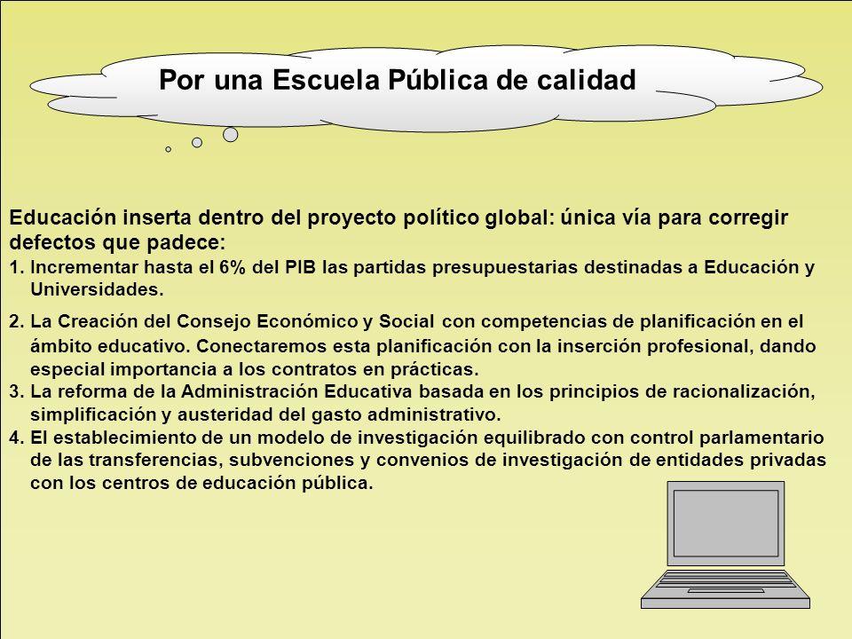 Educación inserta dentro del proyecto político global: única vía para corregir defectos que padece: 1. Incrementar hasta el 6% del PIB las partidas pr