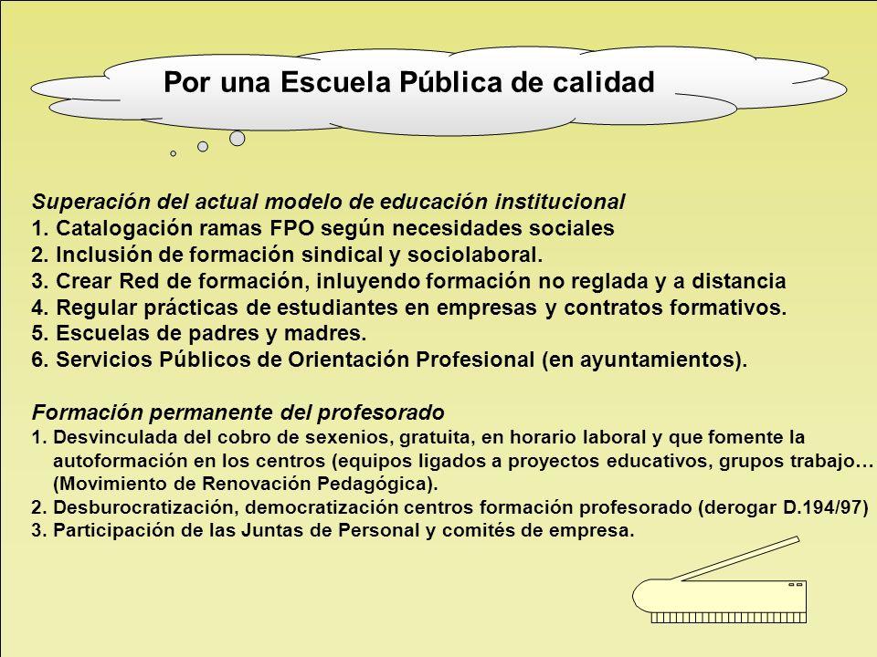 Superación del actual modelo de educación institucional 1. Catalogación ramas FPO según necesidades sociales 2. Inclusión de formación sindical y soci