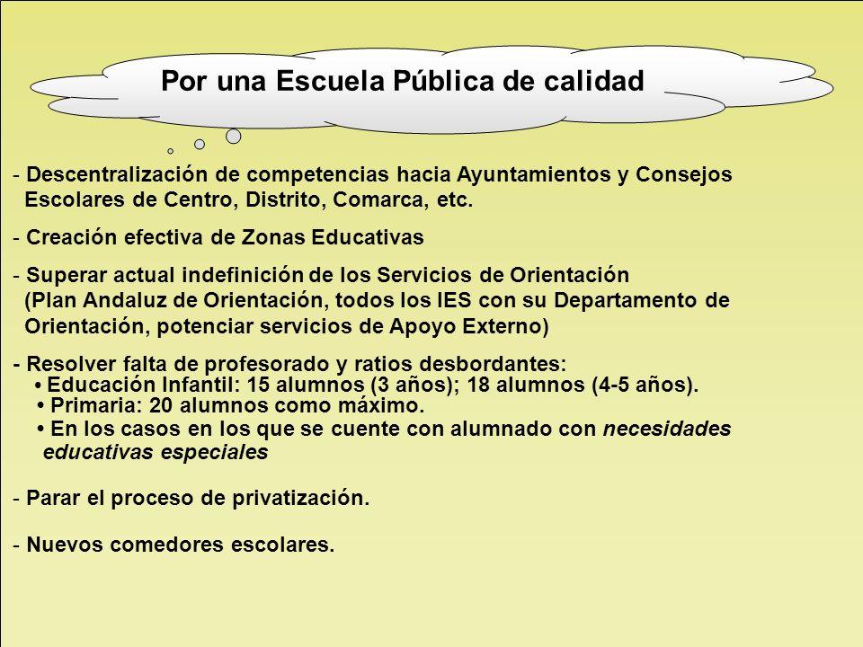- Descentralización de competencias hacia Ayuntamientos y Consejos Escolares de Centro, Distrito, Comarca, etc. - Creación efectiva de Zonas Educativa