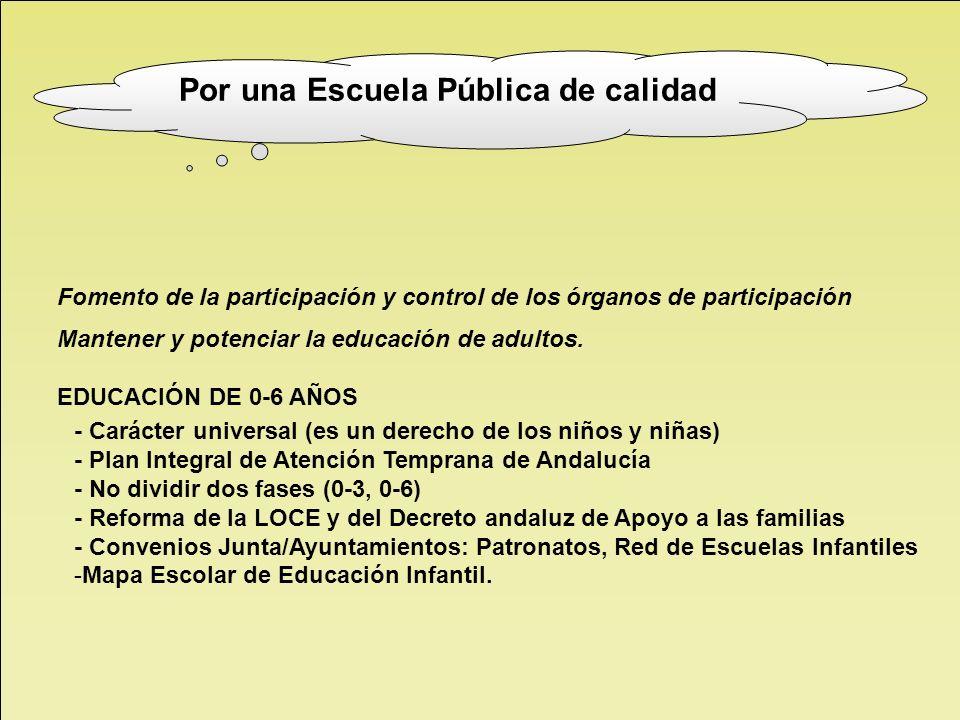 Fomento de la participación y control de los órganos de participación Mantener y potenciar la educación de adultos. EDUCACIÓN DE 0-6 AÑOS - Carácter u