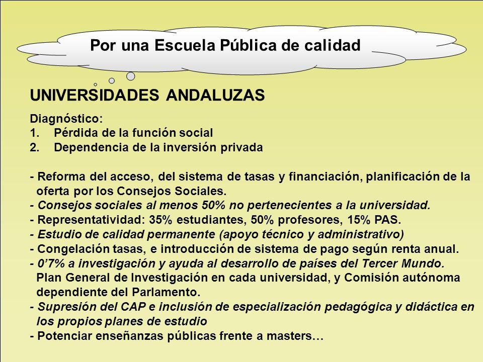 UNIVERSIDADES ANDALUZAS Diagnóstico: 1.Pérdida de la función social 2.Dependencia de la inversión privada - Reforma del acceso, del sistema de tasas y