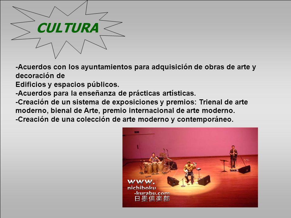 CULTURA -Acuerdos con los ayuntamientos para adquisición de obras de arte y decoración de Edificios y espacios públicos. -Acuerdos para la enseñanza d