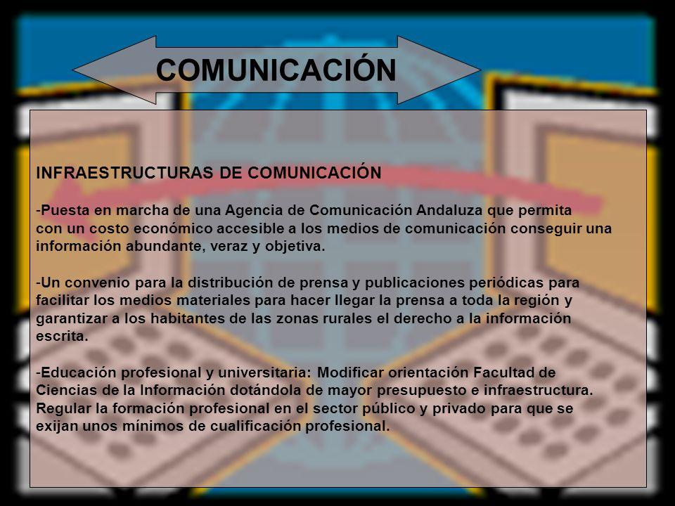 COMUNICACIÓN INFRAESTRUCTURAS DE COMUNICACIÓN -Puesta en marcha de una Agencia de Comunicación Andaluza que permita con un costo económico accesible a